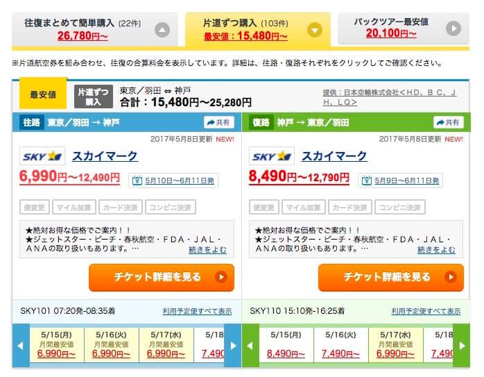 Travel.jp片道づつ購入