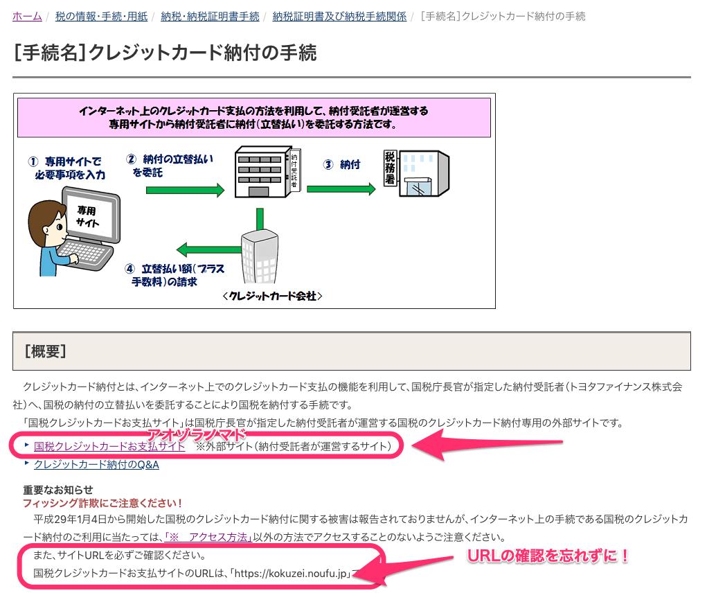 クレジットカード納付の手続国税庁03