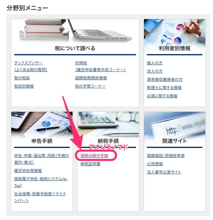 国税庁HP分野別メニュー
