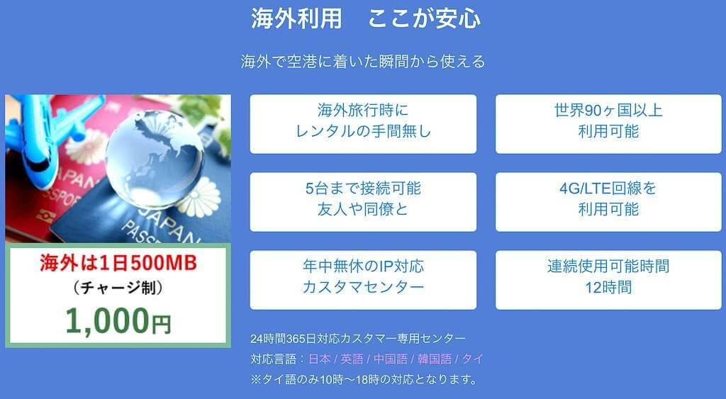 NOZOMI WiFiの海外利用についての情報